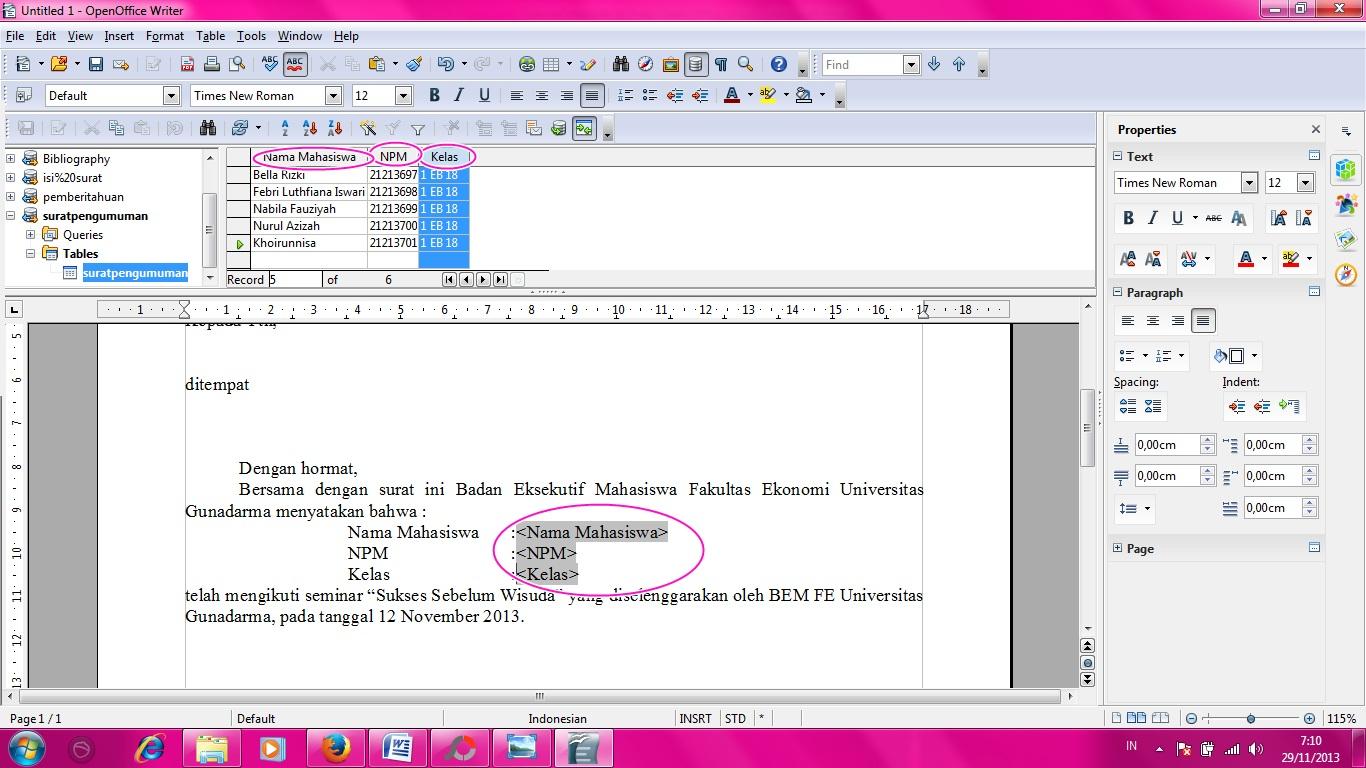 cara membuat mail merge dari excel ke word 2007 cara